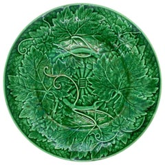 Wedgwood Majolica Green Glazed Basket Weave Plate, English, ca. 1885