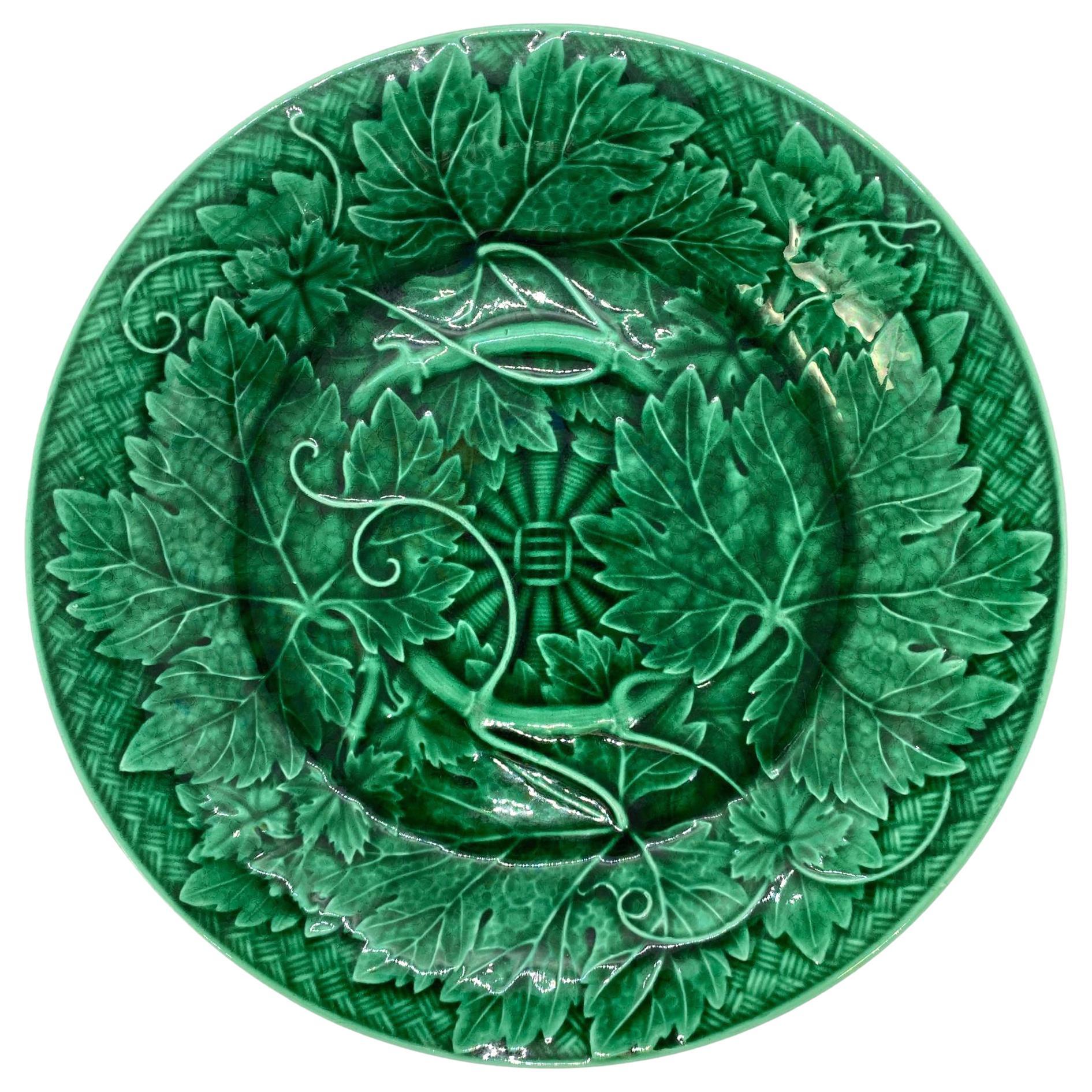 Wedgwood Majolica Green Glazed Basket Weave Plate, English, ca. 1885