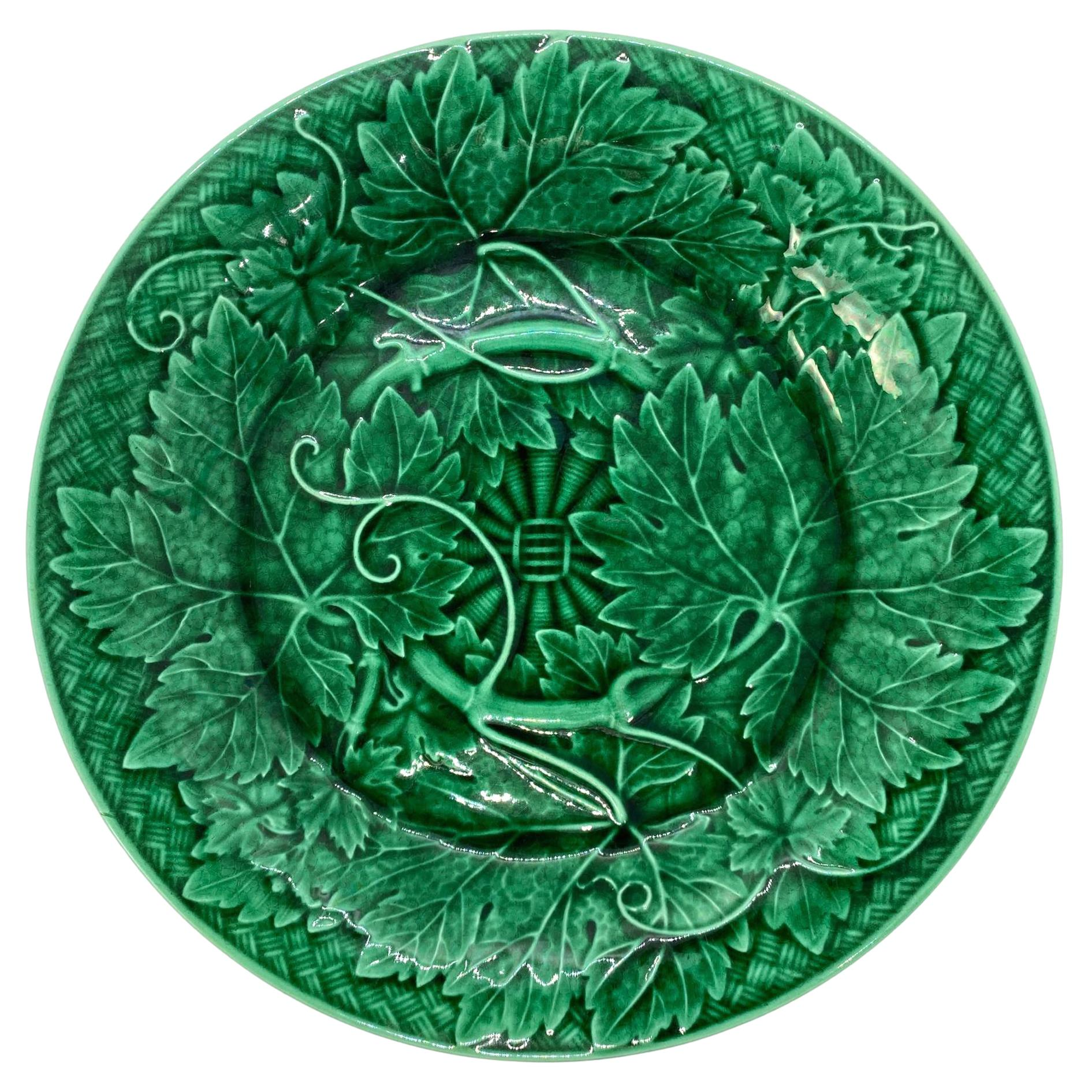 Wedgwood Majolica Green Glazed Basket Weave Plate, English, Dated 1885