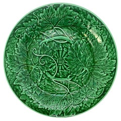 Wedgwood Majolica Green Glazed Basket Weave Plate, English, Dated 1885