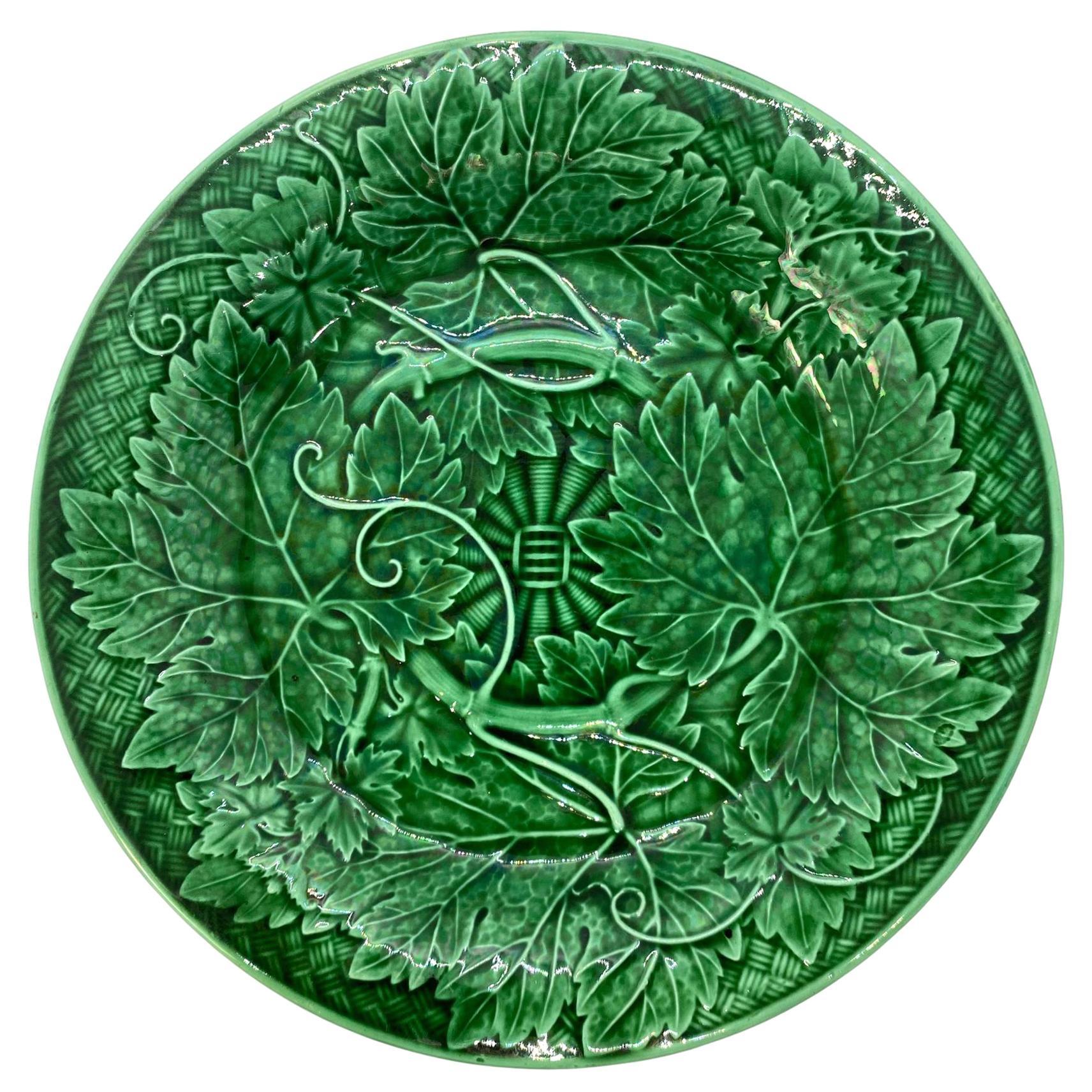 Wedgwood Majolica Green Glazed Basket Weave Plate, English, Dated 1894