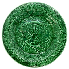 Wedgwood Majolica Green Glazed Basket Weave Plate, English, Dated 1894