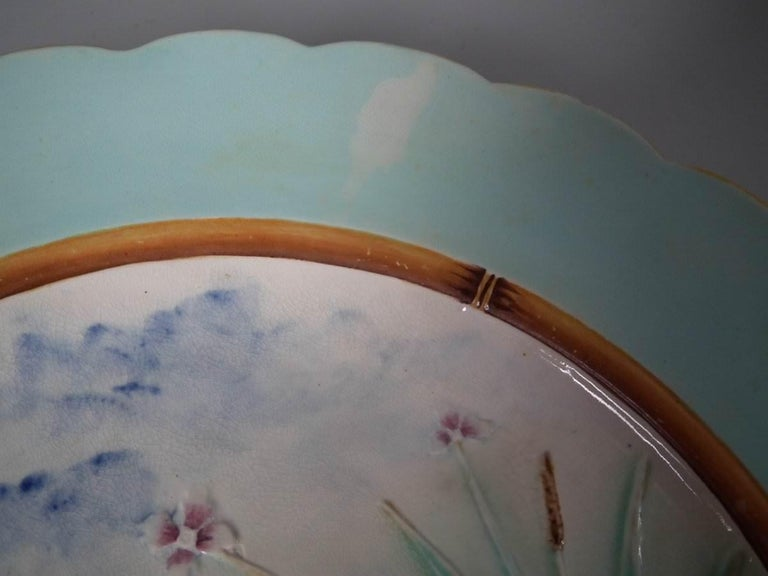 Victorian Wedgwood Majolica Heron Plate For Sale