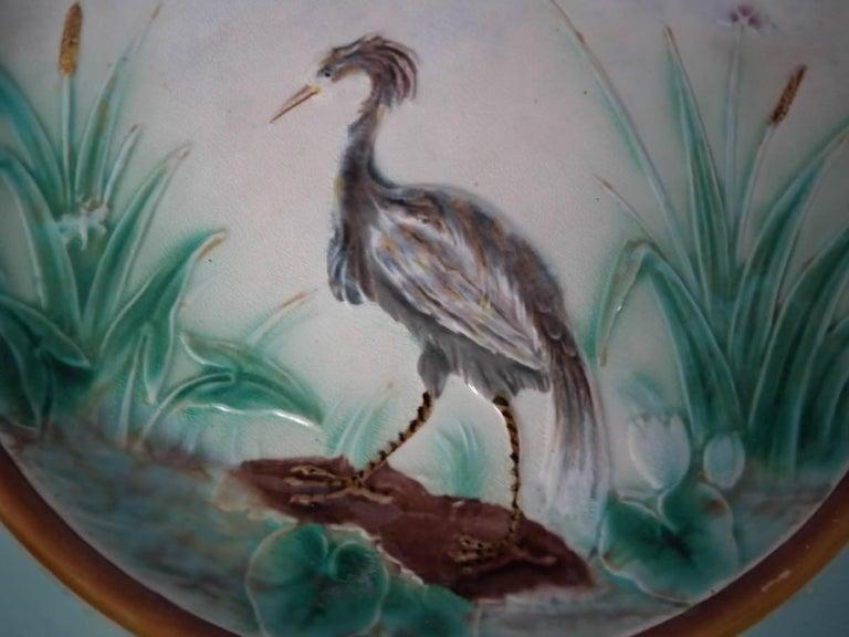 English Wedgwood Majolica Heron Plate For Sale
