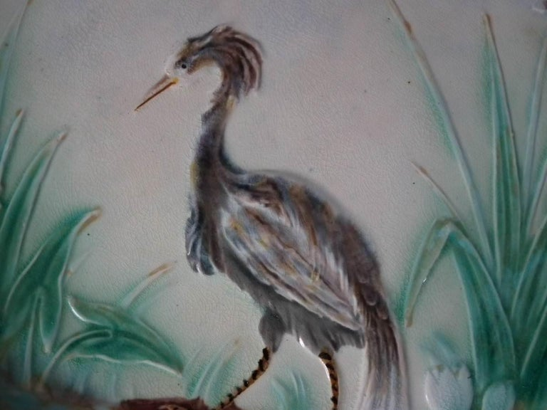 Late 19th Century Wedgwood Majolica Heron Plate For Sale