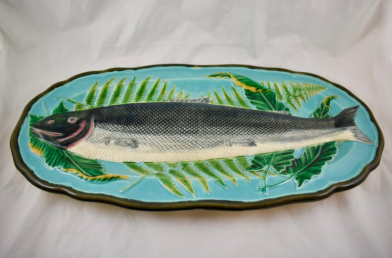 Wedgwood Majolica Monumental Aesthetic Movement Whole Salmon Platter, Dated 1877 For Sale 4