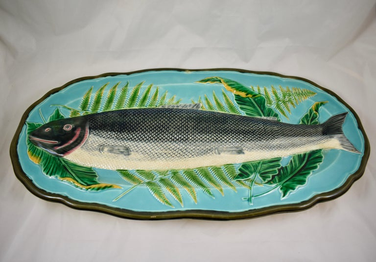 Wedgwood Majolica Monumental Aesthetic Movement Whole Salmon Platter, Dated 1877 For Sale 5