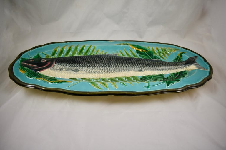 Wedgwood Majolica Monumental Aesthetic Movement Whole Salmon Platter, Dated 1877 For Sale 6