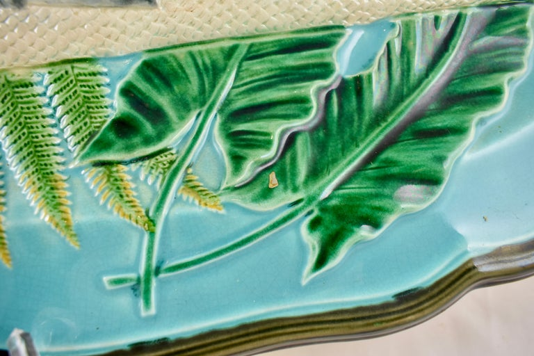 Wedgwood Majolica Monumental Aesthetic Movement Whole Salmon Platter, Dated 1877 For Sale 7
