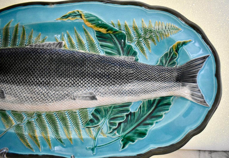 Glazed Wedgwood Majolica Monumental Aesthetic Movement Whole Salmon Platter, Dated 1877 For Sale