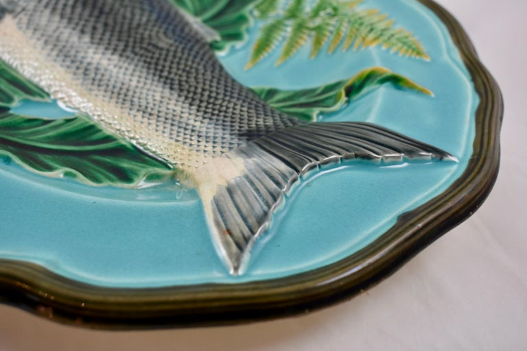 Wedgwood Majolica Monumental Aesthetic Movement Whole Salmon Platter, Dated 1877 For Sale 1