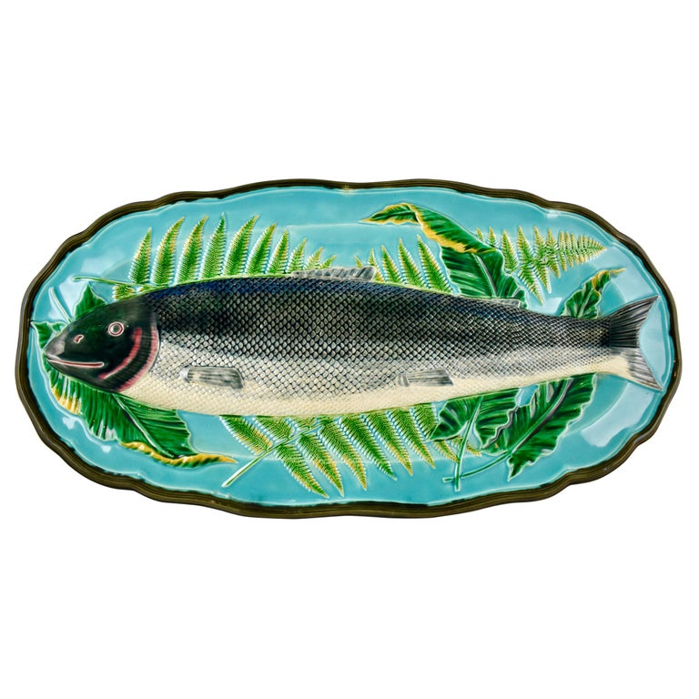 Wedgwood Majolica Monumental Aesthetic Movement Whole Salmon Platter, Dated 1877 For Sale
