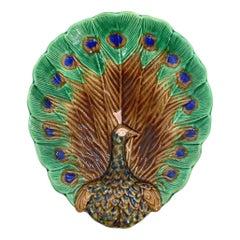 Wedgwood Majolica Peacock Tray, English, 1880