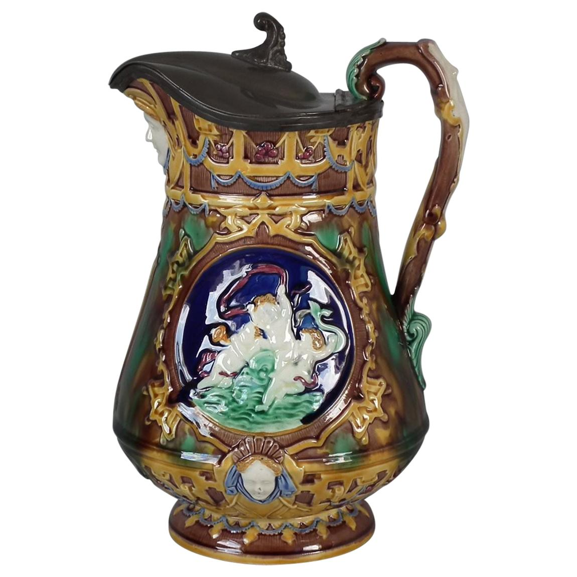 Wedgwood Majolica Pictorial Pitcher with Pewter Lid