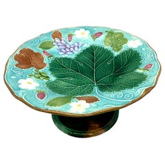 Wedgwood Majolica Turquoise Vine and Strawberry Tall Comport, English, 1881