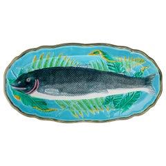 Wedgwood Majolica Turquosie-Ground Salmon Platter, English, Dated 1878