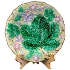 Wedgwood Majolica 'Vine & Strawberry' Plate, English, Dated 1929, 9-in Yellow