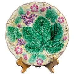 Wedgwood Majolica 'Vine & Strawberry' Plate, English, Dated 1929, Yellow Ground
