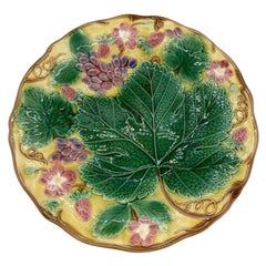 Wedgwood Majolica 'Vine & Strawberry' Plate on a Yellow Ground, English