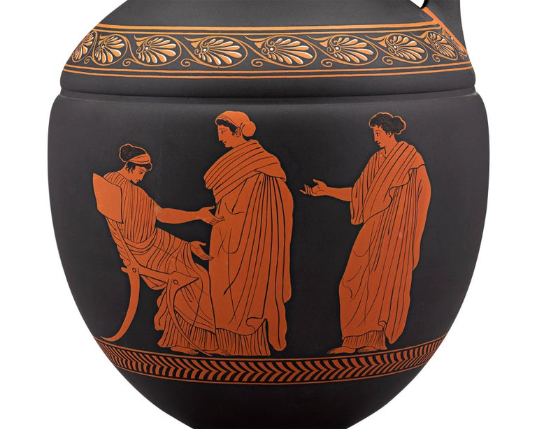 English Wedgwood Neoclassical Black Basalt Encaustic Enamel Amphora For Sale
