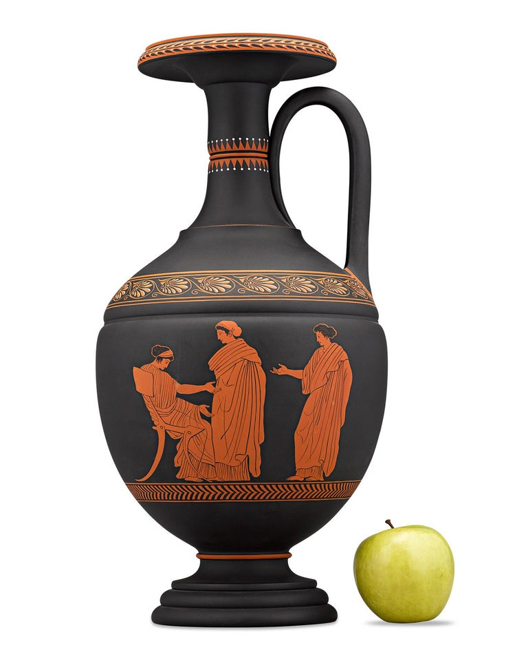 19th Century Wedgwood Neoclassical Black Basalt Encaustic Enamel Amphora For Sale