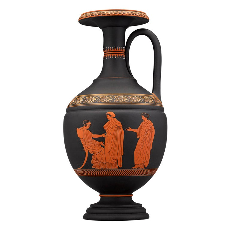Wedgwood Neoclassical Black Basalt Encaustic Enamel Amphora For Sale