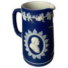 Wedgwood Founding Fathers Dark Blue Jasperware Pitcher