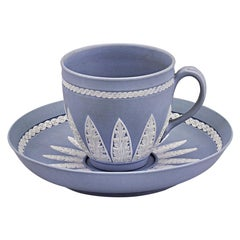 Wedgwood Pale Blue Jasperware Coffee Cup and Saucer Set