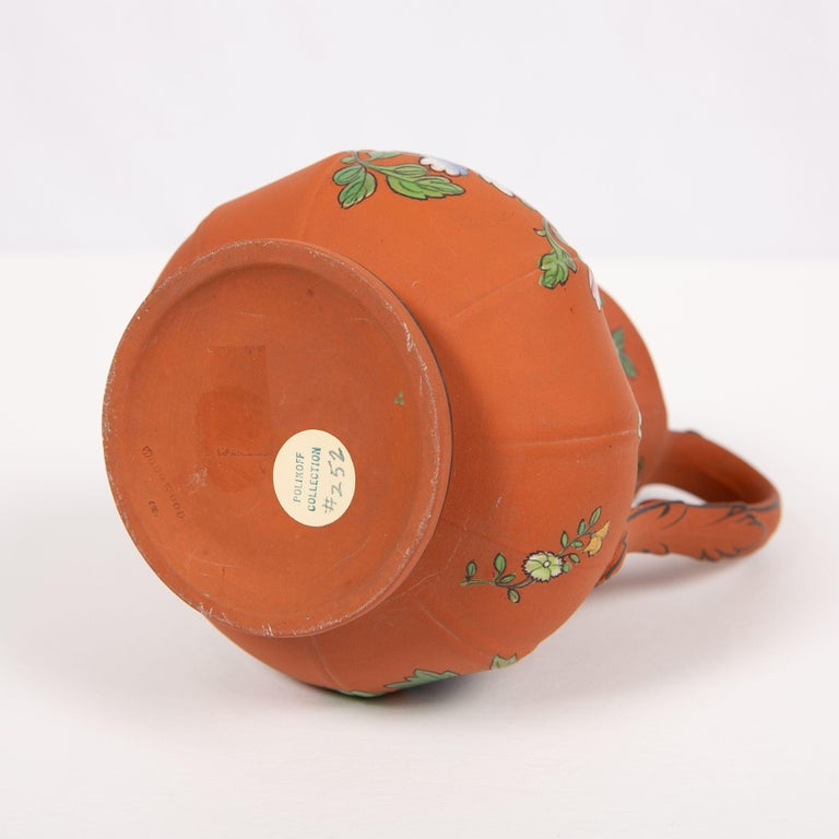 Wedgwood Pitcher Made of Rosso Antico Stoneware Painted with Enameled Flowers For Sale 4