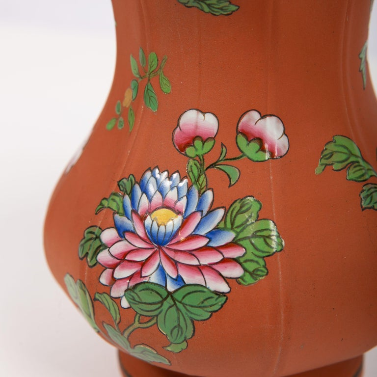 English Wedgwood Pitcher Made of Rosso Antico Stoneware Painted with Enameled Flowers For Sale