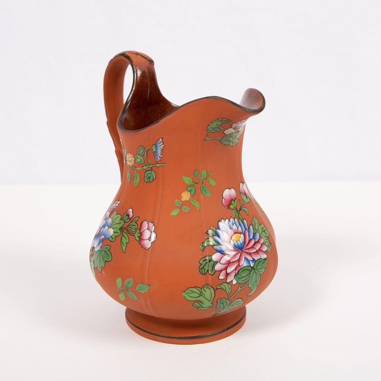 Wedgwood Pitcher Made of Rosso Antico Stoneware Painted with Enameled Flowers In Excellent Condition For Sale In New York, NY
