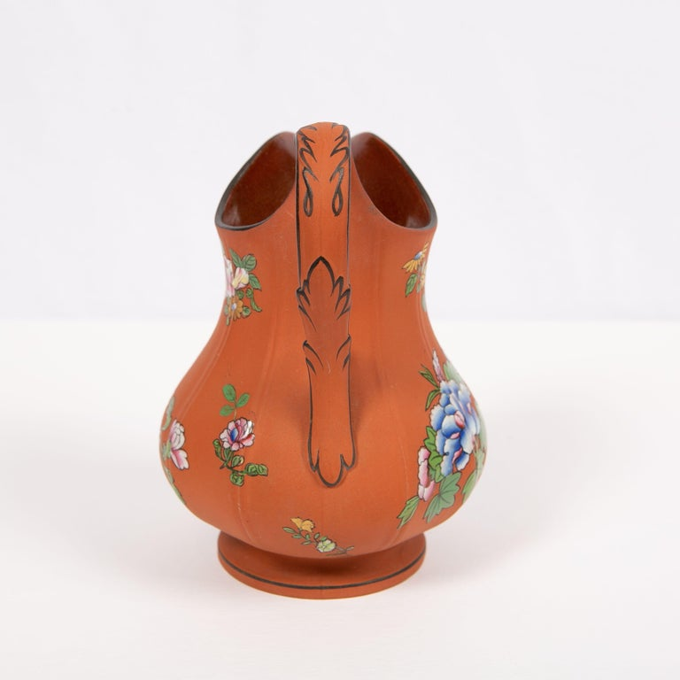 19th Century Wedgwood Pitcher Made of Rosso Antico Stoneware Painted with Enameled Flowers For Sale