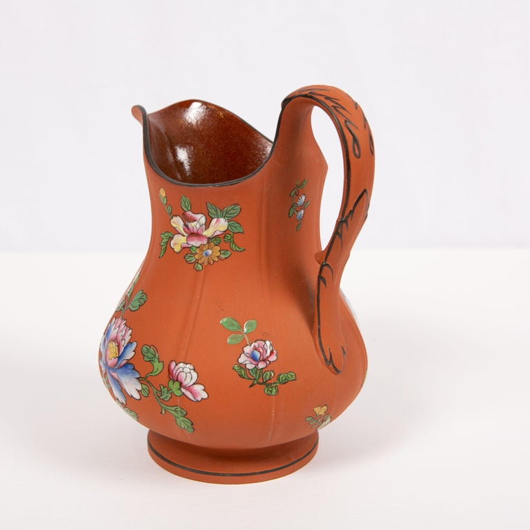 Wedgwood Pitcher Made of Rosso Antico Stoneware Painted with Enameled Flowers For Sale 1
