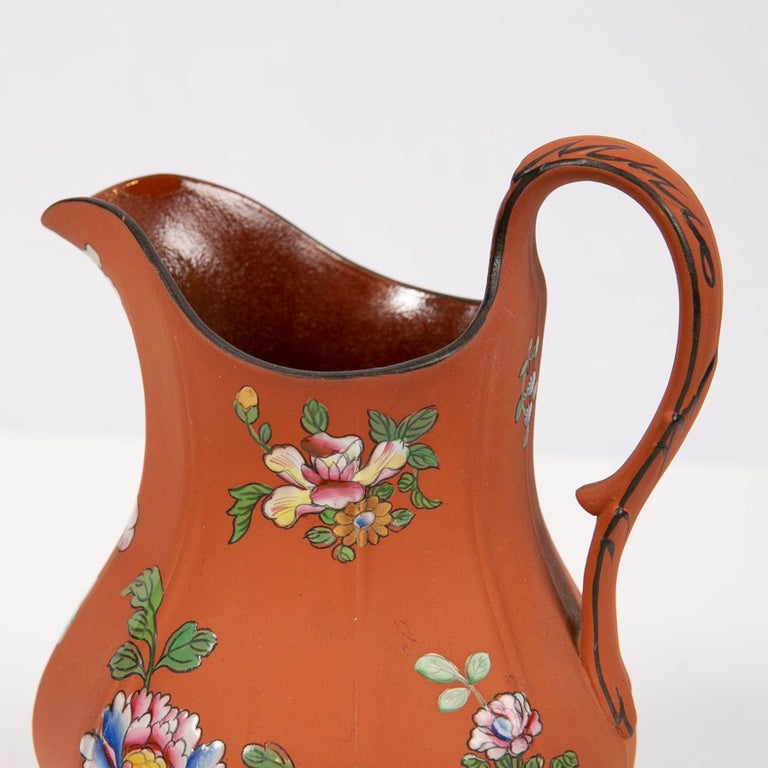 Wedgwood Pitcher Made of Rosso Antico Stoneware Painted with Enameled Flowers For Sale 2