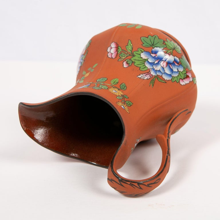 Wedgwood Pitcher Made of Rosso Antico Stoneware Painted with Enameled Flowers For Sale 3