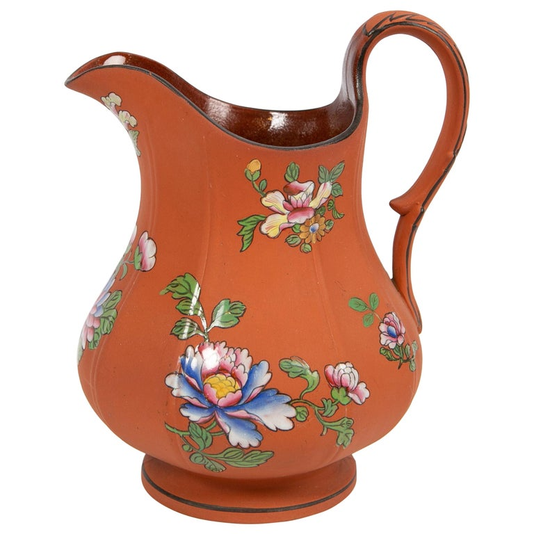 Wedgwood Pitcher Made of Rosso Antico Stoneware Painted with Enameled Flowers For Sale