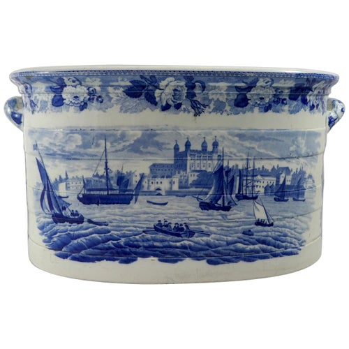 Wedgwood Pottery Foot Bath. 'Tower of London from the Thames', circa 1820