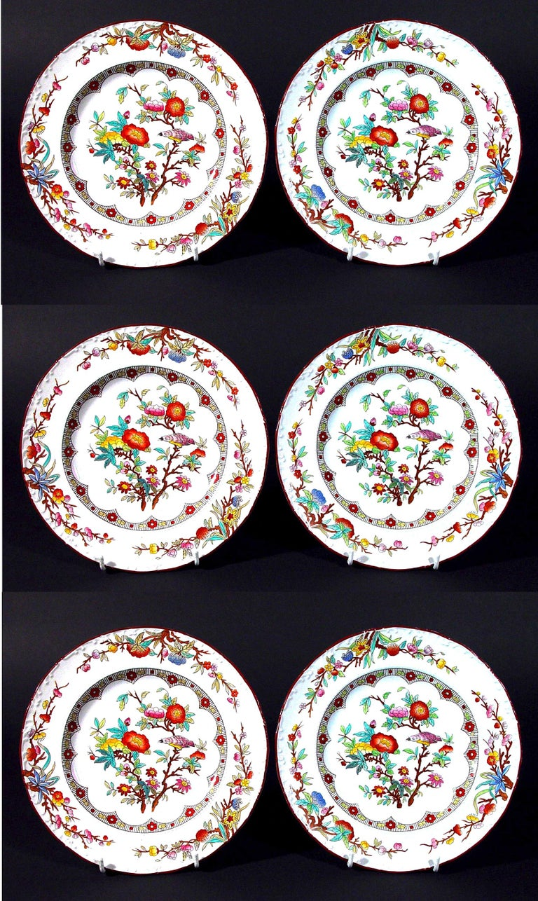 Wedgwood Set of Six Pearlware Botanical Plates, circa 1870 In Good Condition For Sale In Downingtown, PA