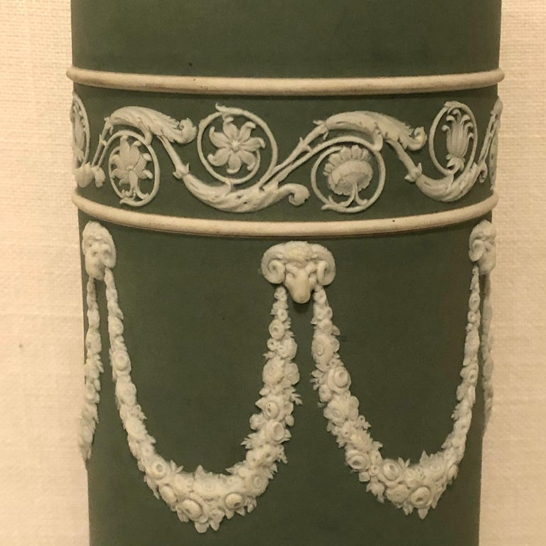 Wedgwood Tall Green Vase Decorated with Rams Heads and Lilies of the Valley In Good Condition For Sale In Boston, MA