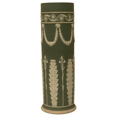 Wedgwood Tall Green Vase Decorated with Rams Heads and Lilies of the Valley