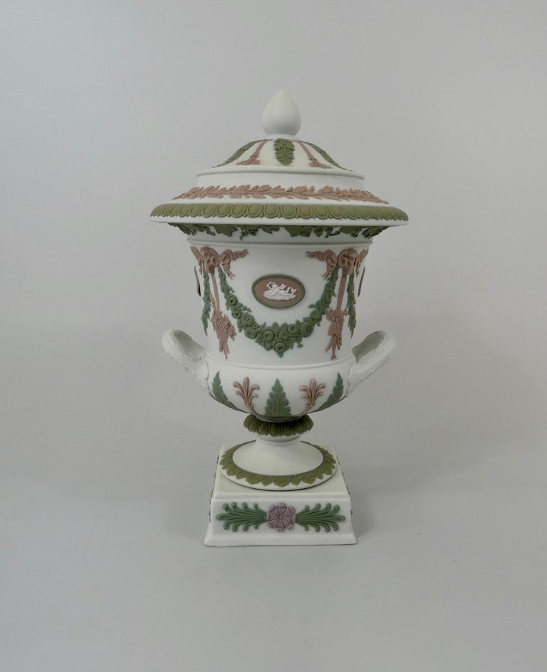 Classical Roman Wedgwood 'Three colour' Vase and Cover, circa 1900 For Sale