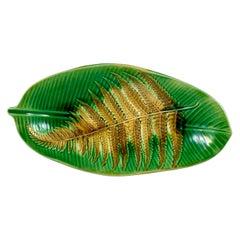 Wedgwood Yellow Ochre Fern on Green Banana Leaf Shaped Trompe l'Oeil Tray, 1889