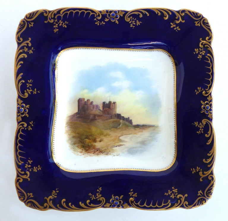 Wedgwood 'England' Hand Painted Cabinet Plates Depicting UK Landmarks, 3  Offered for sale is a set of three hand painted and artist-signed cabinet plates depicting United Kingdom landmarks. The round plate depicts Llyn Elsi from Betws-y-Coed