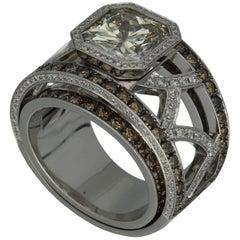 Weggenmann 'Euphoria' Platinum Radiant Greyish Yellow Diamond Cocktail Ring