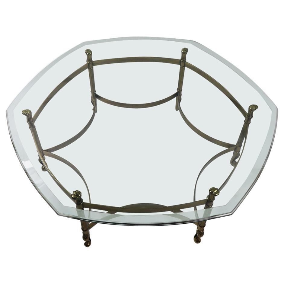 Weiman Brass and Glass Hexagonal Coffee Table
