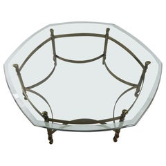 Weiman Brass and Glass Hexagonal Coffee Table
