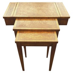 Burl Wood And Brass Inlaid Nesting Table With Top Compartment By Weiman