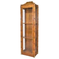 Weiman Hollywood Regency Campaign Style Faux Bamboo Narrow Lighted Display Cabin