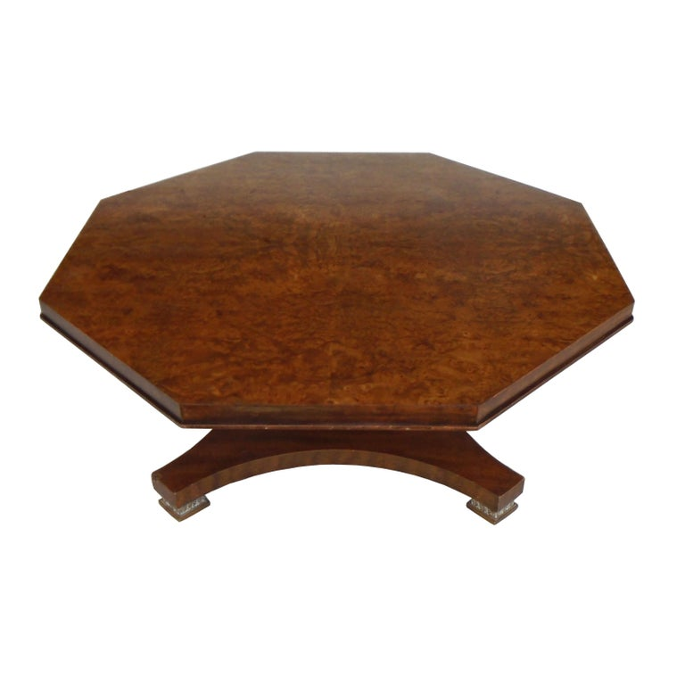 Walnut Weiman Octagon Shaped Coffee Table For Sale