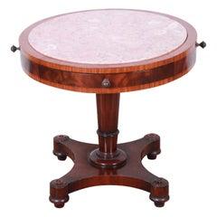 Weiman Regency Flame Mahogany Marble-Top Pedestal Drum Table